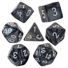 Black Marbled Dice  7 PC Set With Carrying Bag