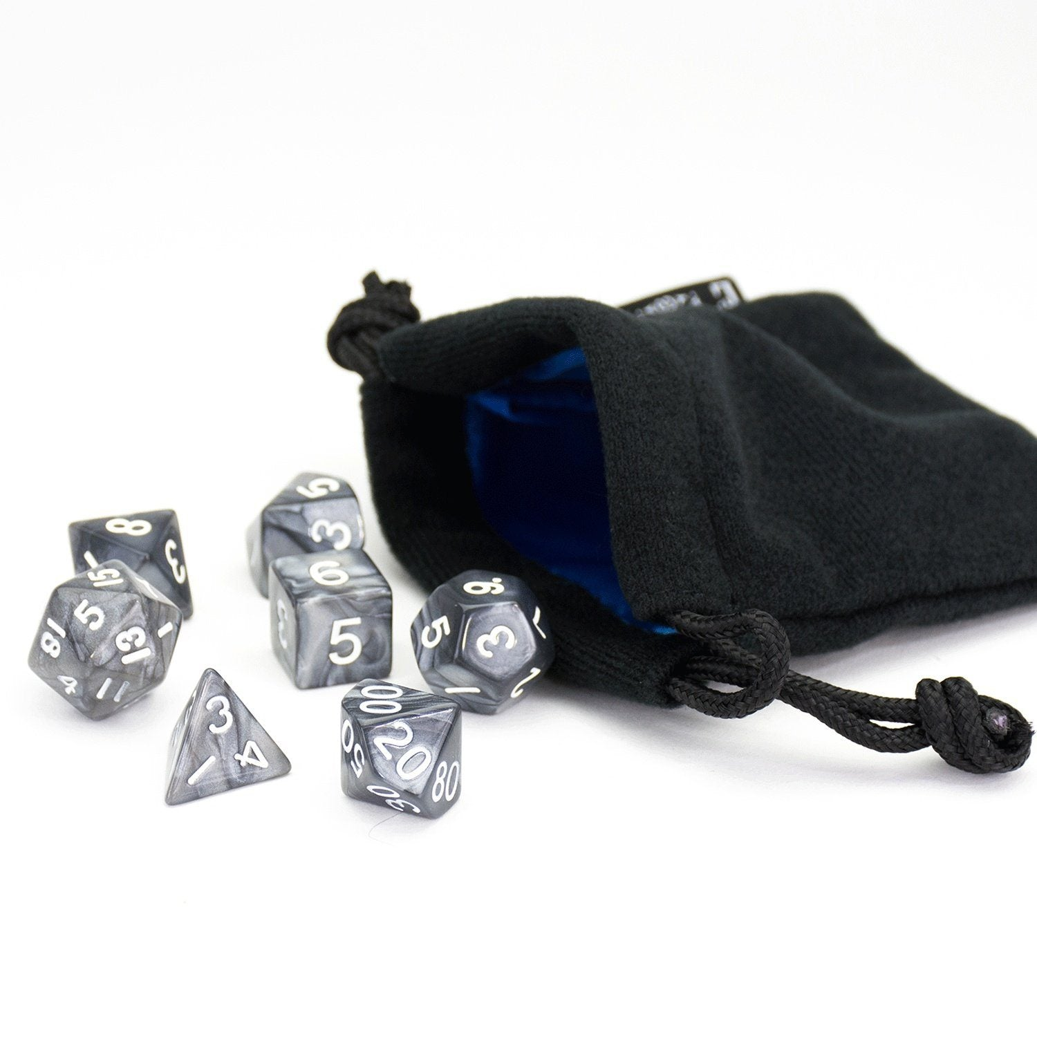 Black Smoke Dice | 7 Piece Set With Bag