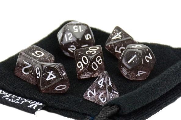 Black Sparkle Dice - 7 Piece Set With Bag