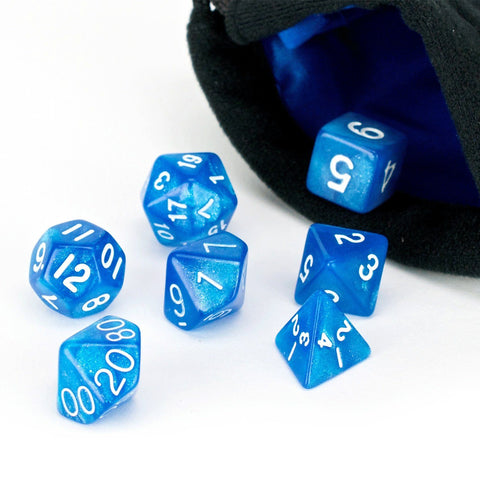 Blue Frost Dice - 7 Piece Set With Bag