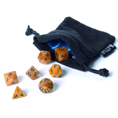 Burnt Amber Dice - 7 Piece Set With Bag