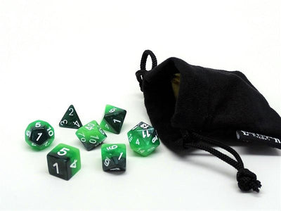 green and black dice