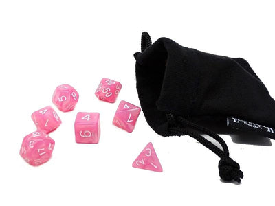 Pink Marble Dice Collection - 7 Piece Set