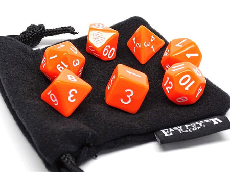 Bright Orange 7 Piece Dice Set - Free Small Dice Bag Included