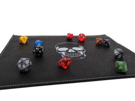 Skull Dice Rolling Mat For Metal Dice | Red or White