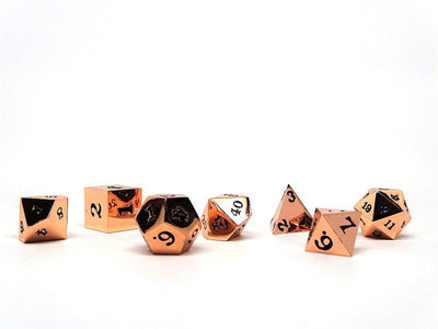 Rose Gold Metal Dice Set - Black Numbering - Standard Dice Case