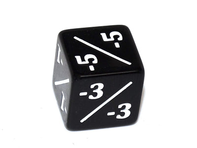 6 Sided Counter Dice - Black -1/-1