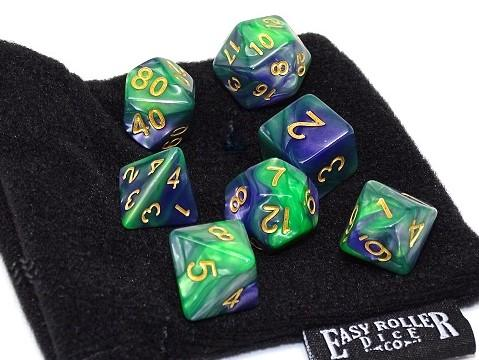 green and blue dice