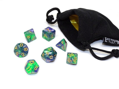 green and blue swirled dice