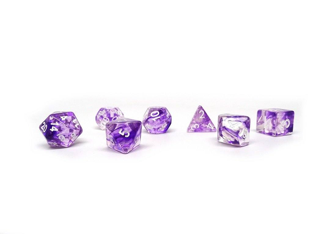 Purple Glacier Dice - 7 Piece Set With Bag