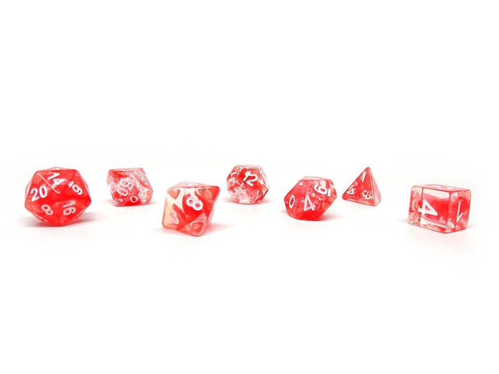 Red Glacier Dice - 7 Piece Set With Bag