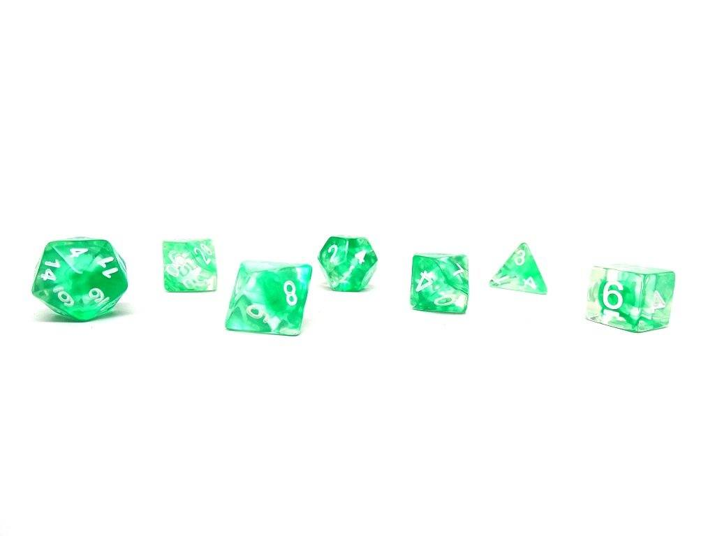 Green Glacier Dice - 7 Piece Set With Bag