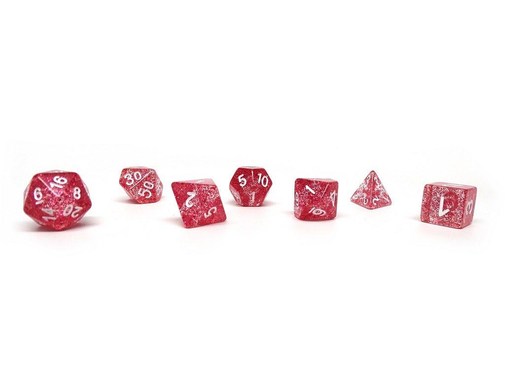 Red Sparkle Dice Set - 7 Piece Set With Bag