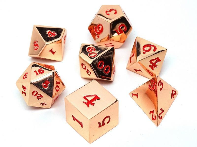 Rose Gold Metal Dice Set - Red Numbering - 7 Piece Collection