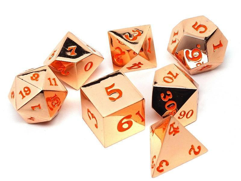 Rose Gold Metal Dice Set - Orange Numbering - 7 Piece Collection