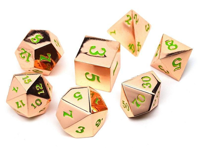 Rose Gold Metal Dice Set - Green Numbering - 7 Piece Collection