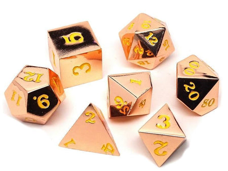 Rose Gold Metal Dice Set - Gold Numbering - 7 Piece Collection