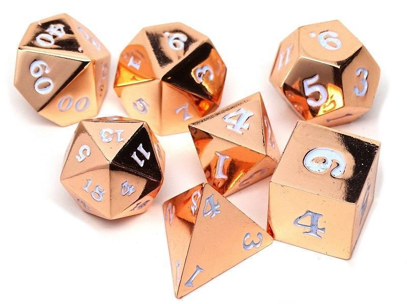 Rose Gold Metal Dice Set - White Numbering - 7 Piece Collection