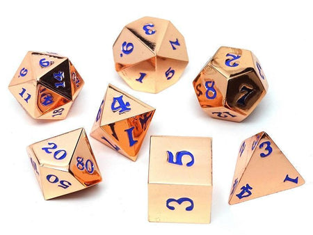 Rose Gold Metal Dice Set - Electric Blue Numbering - 7 Piece Collection