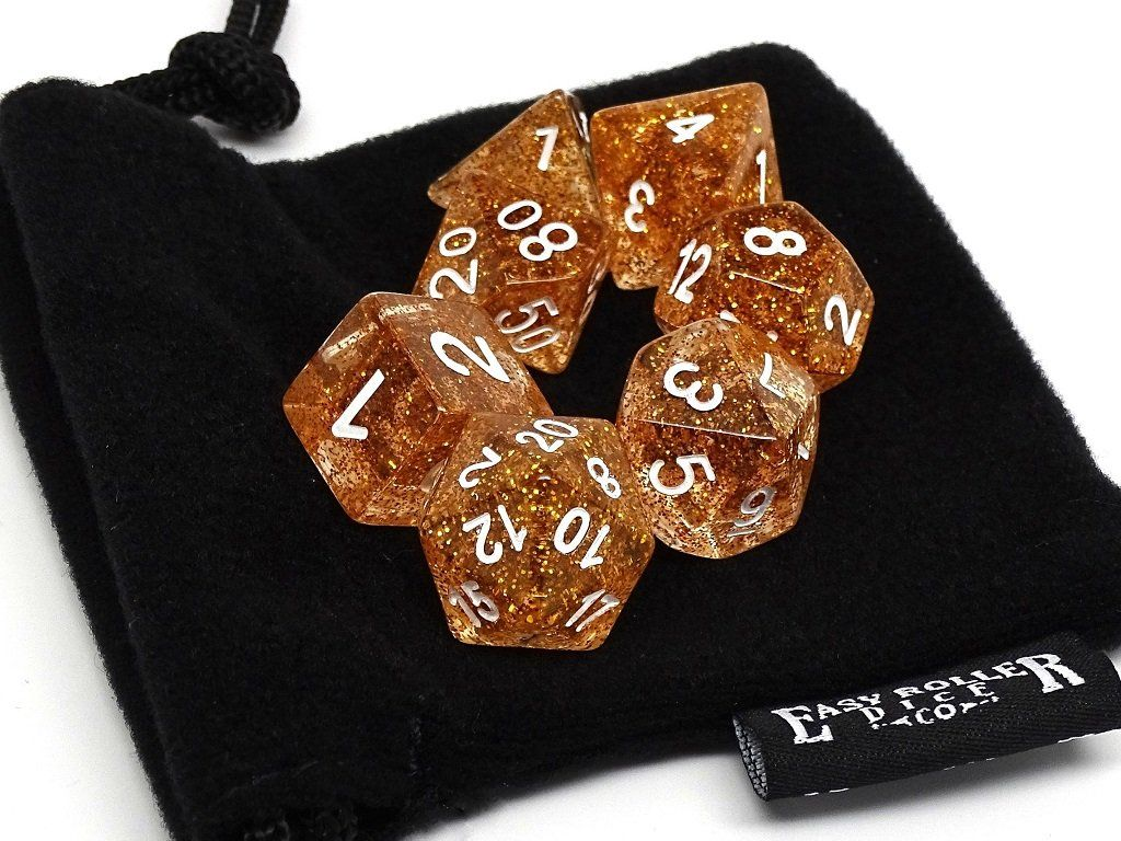Gold Sparkle Dice - 7 Piece Set With Bag