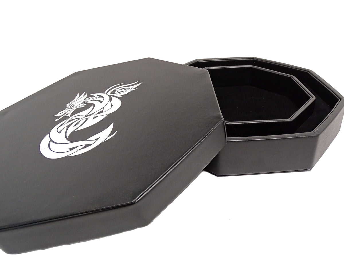 Celtic Knot Dragon Dice Tray With Dice Staging Area and Lid