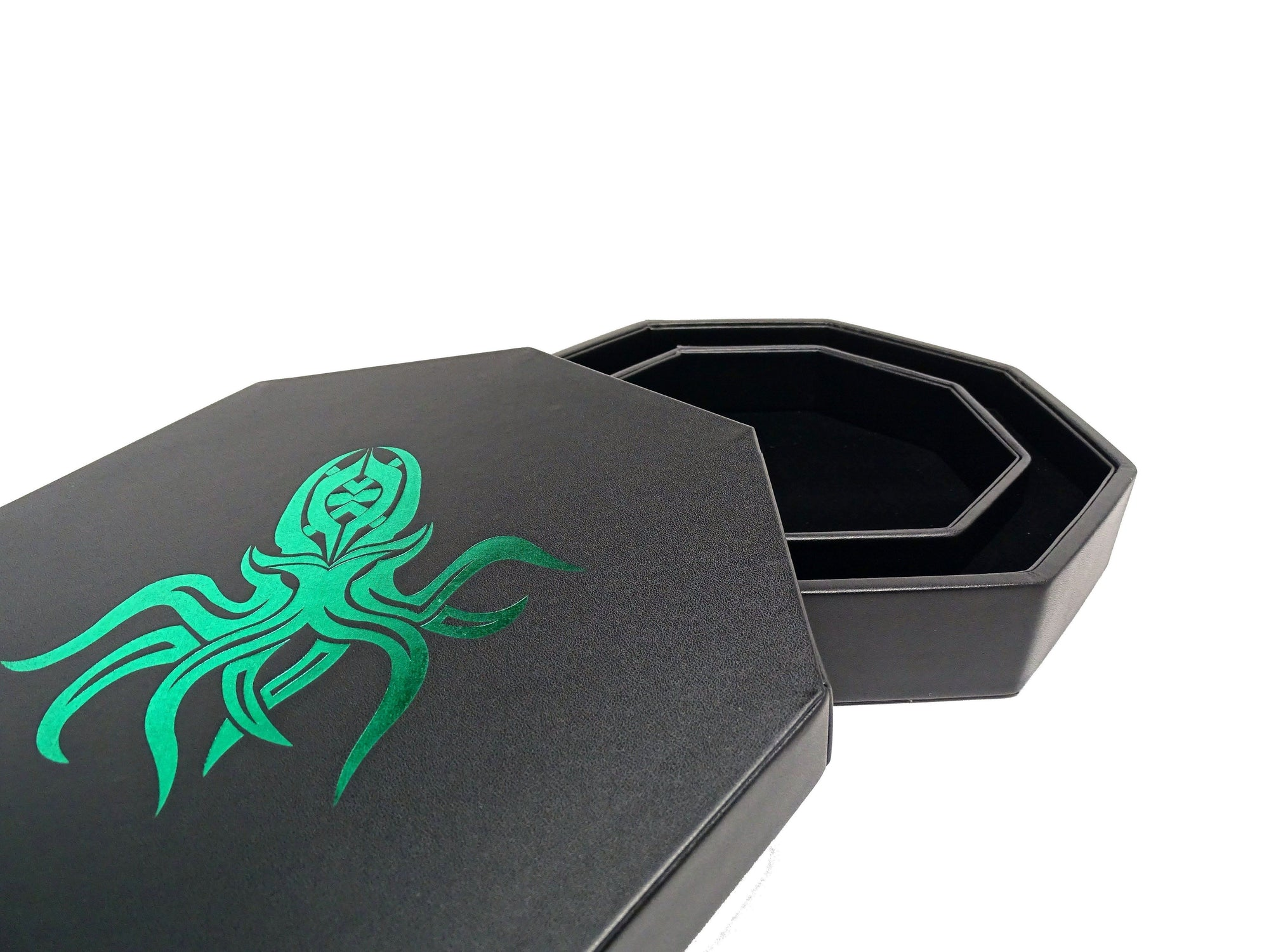 Green Cthulhu Dice Tray With Dice Staging Area and Lid