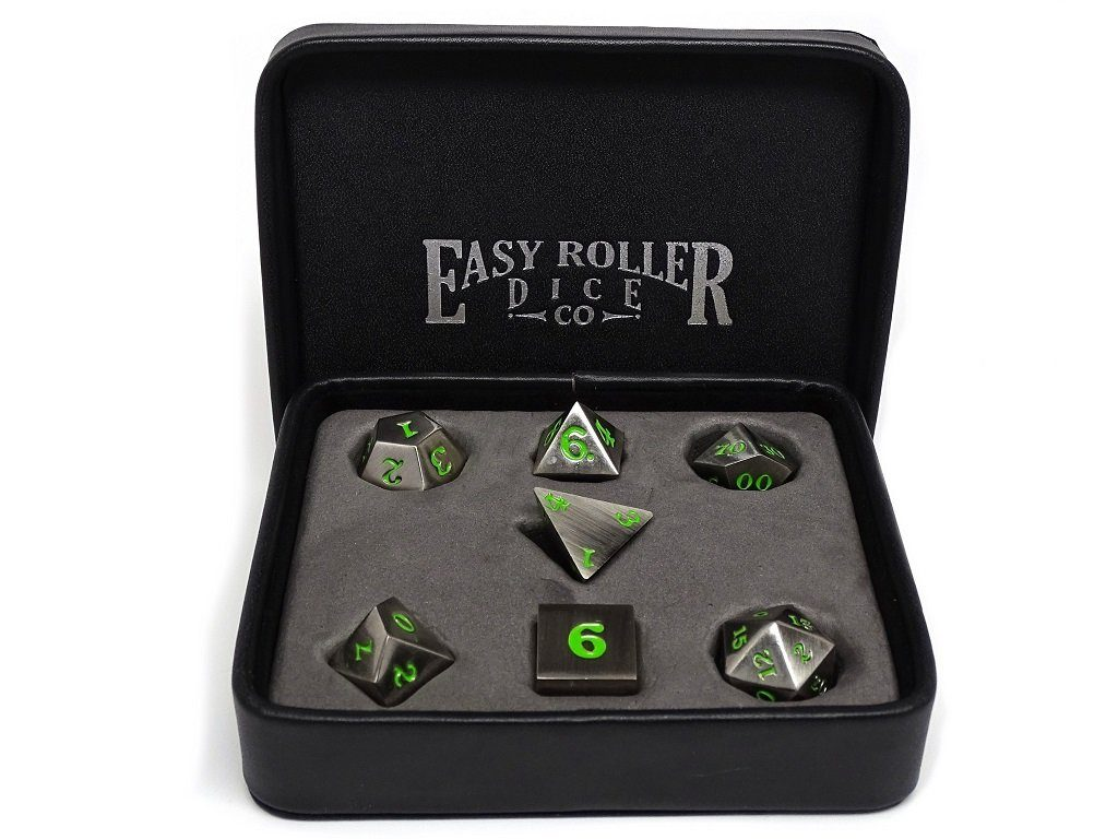 Legendary Silver Metal Dice Set - Green Numbering