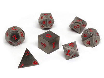 Legendary Silver 7 Piece Metal Dice Set - Red Signature Font