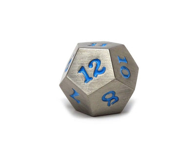 Legendary Silver Metal Dice Set - Powder Blue Numbering