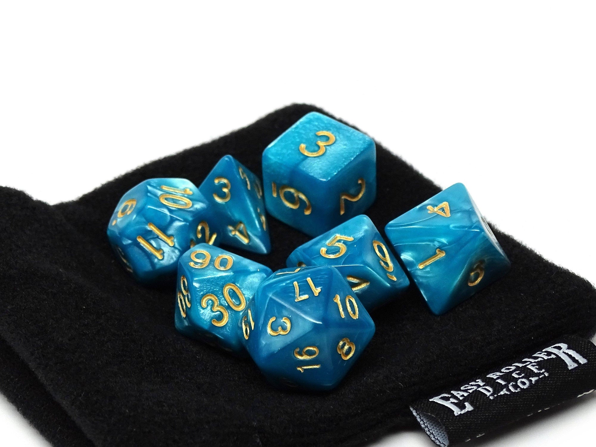 Cyan Marble Dice Collection - 7 Piece Set