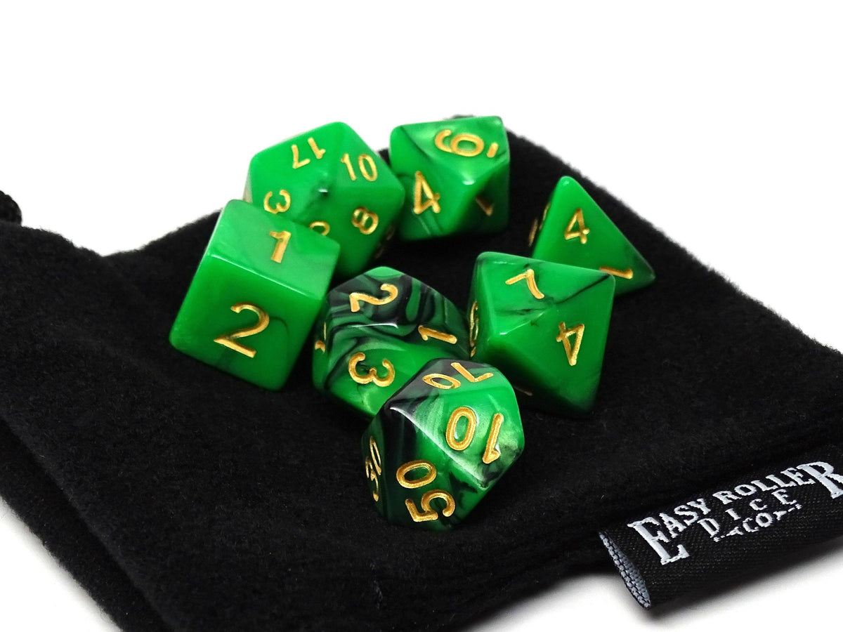 Kelly Green Swirl Dice Set