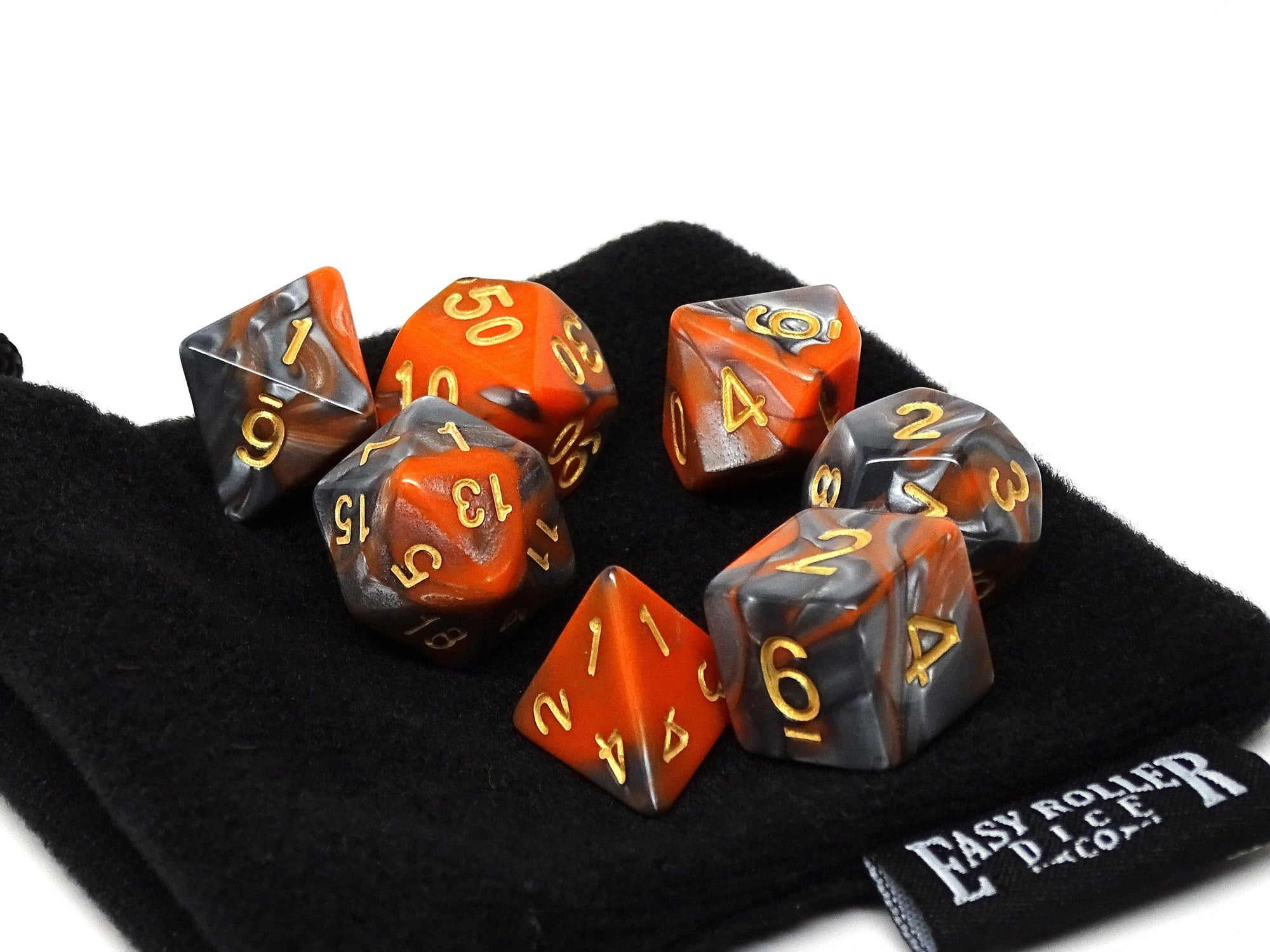 Orange and Grey Granite Dice Collection - 7 Piece Set