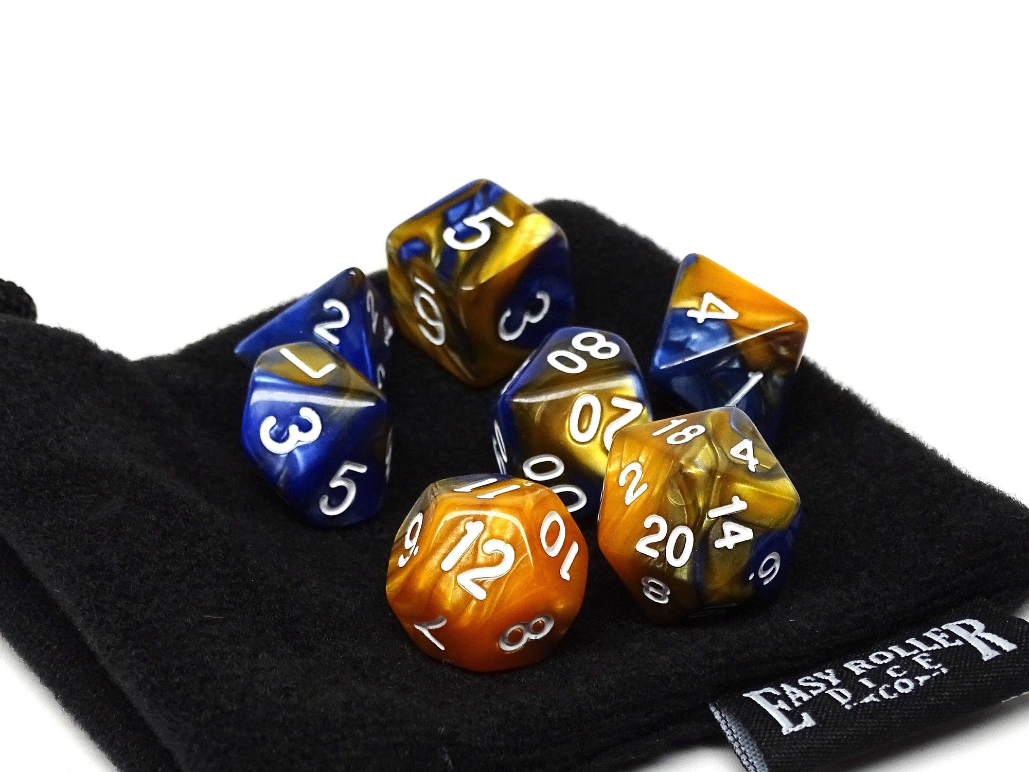 Blue and Amber Granite Dice Collection - 7 Piece Set