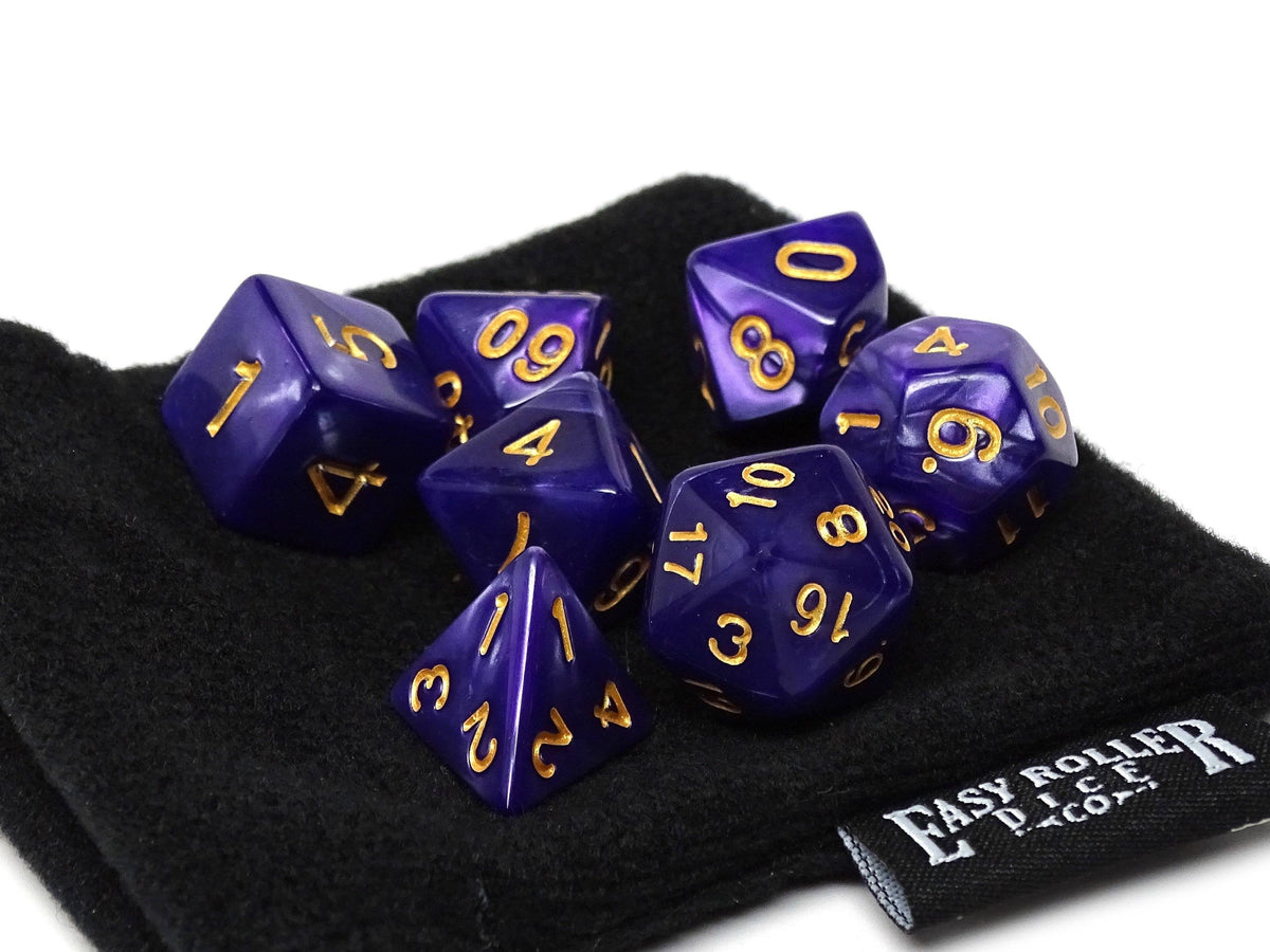 Deep Purple Granite Dice Collection - 7 Piece Set