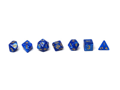 Royal Blue Marble Dice Collection - 7 Piece Set