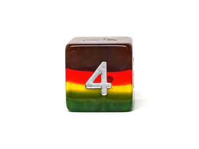 Translucent 4 Tone Dice Set - Green, Yellow, Red, Brown - 7 Piece Set