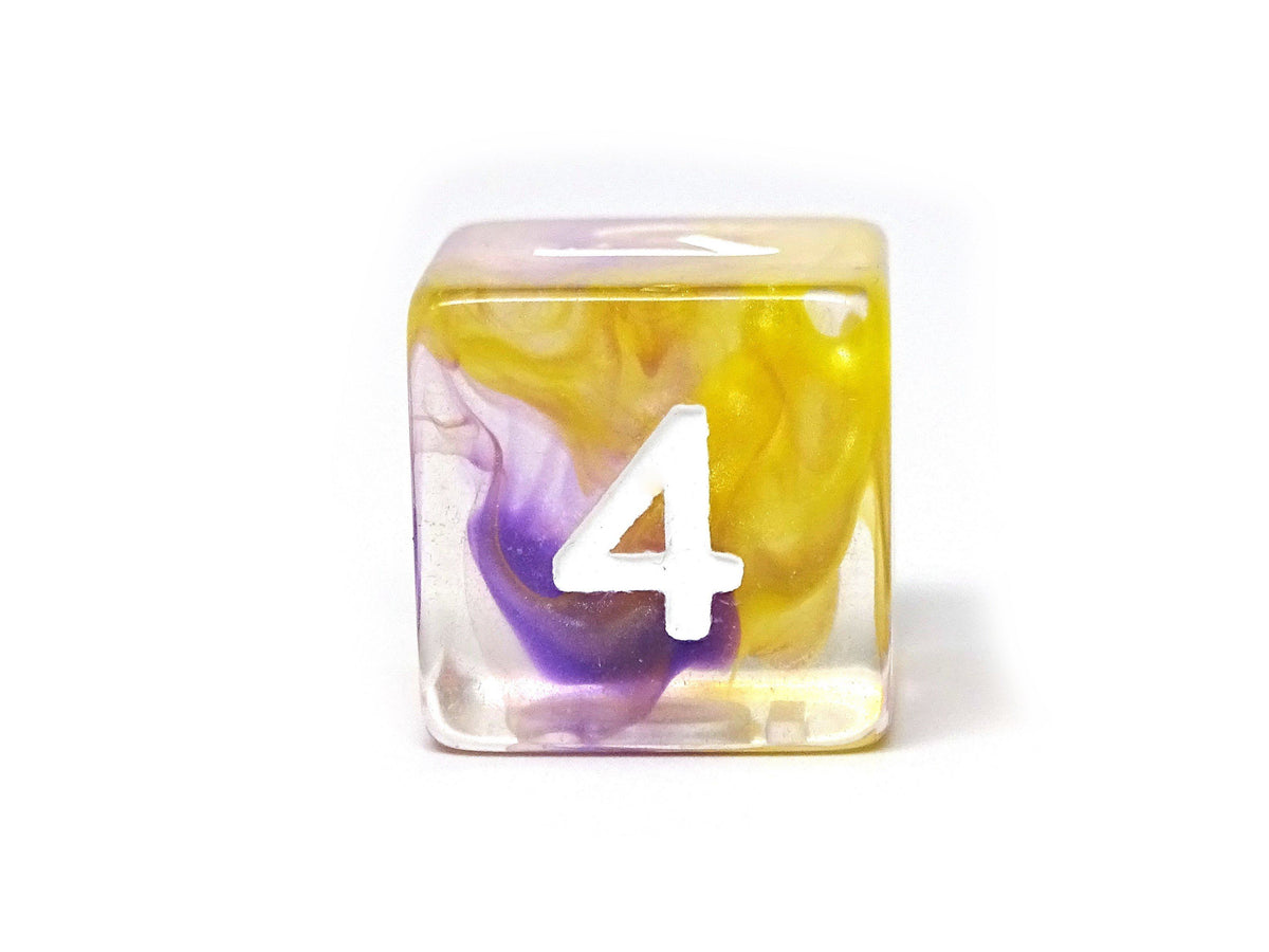 2 Tone Glacier - Yellow and Purple Dice Collection - 7 Piece Set