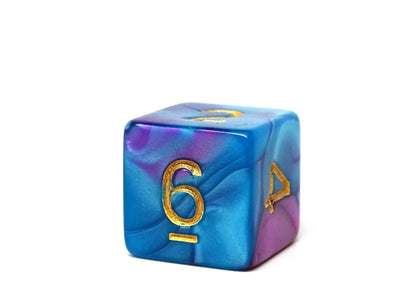Turquoise and Magenta Swirl Dice Collection - 7 Piece Set