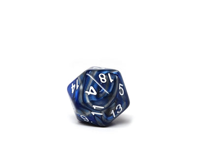 Blue and Silver Granite Dice Collection - 7 Piece Set