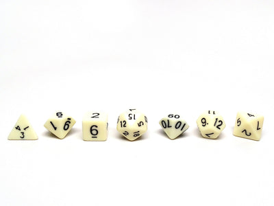 Bone White Dice - 7 Piece Set With Bag