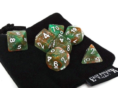 Green and Red Sparkle Dice Collection - 7 Piece Set