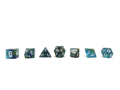 Green Galaxy Dice Collection - 7 Piece Set