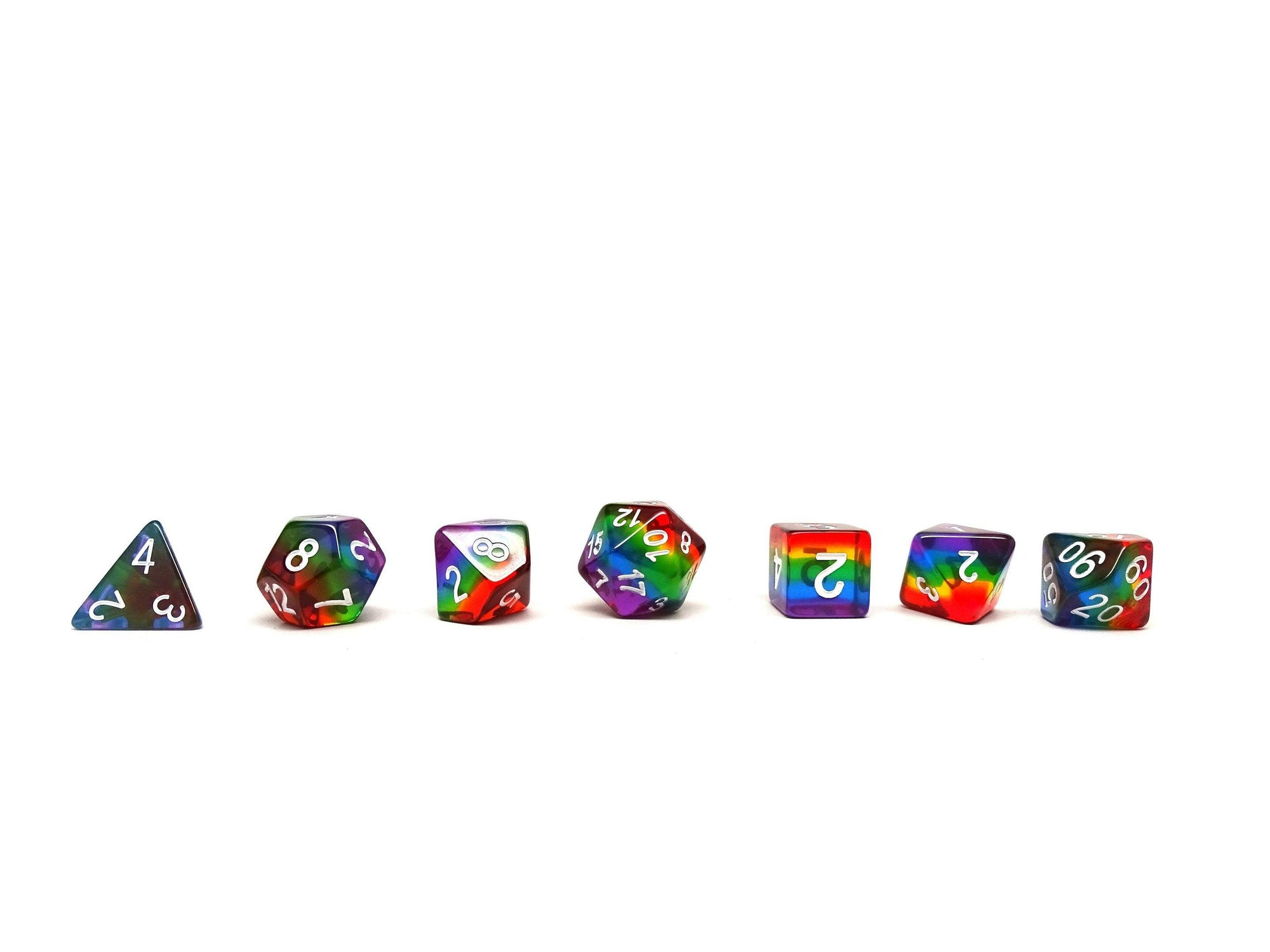 Rainbow Prism Dice Collection - 7 Piece Set