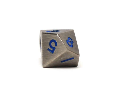 Legendary Silver Metal Dice Set - Electric Blue Numbering