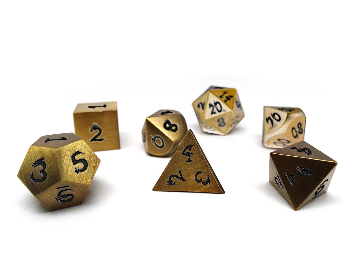 gold dice with dragon font