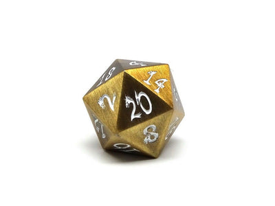 antique gold dice with white n umbers