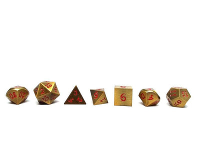 gold dice with red dragon font