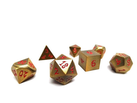 gold dice with red numbers