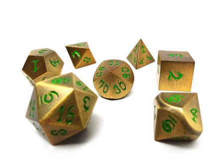 gold dice with green font