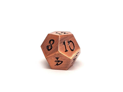 Metal Dice of Ancient Dragons - Ancient Copper with Black Dragon Font